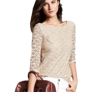 Banana Republic Cream Mosaic Lace Blouse